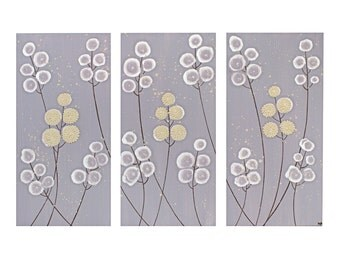 Purple Nursery Wall Art - Textured Flower Painting on Triptych Canvas - Medium 32x20