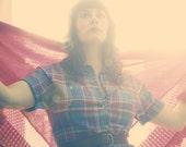 80s Womens Colorful Plaid Shirt Dress, Vintage, size S/M