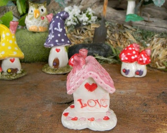Miniature Clay Ceramic Love House  with a red heart on top   with heart base