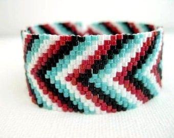 Peyote Bracelet / Chevron Bracelet / Seed Bead Bracelet in Red,  White,  Black and  Turquoise / Beaded Bracelet /Beadwork /  (Made To Order)