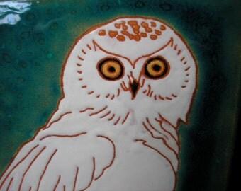 Snowy Owl  tile -CUSTOM ORDER -allow 4-6 wks production time- , arts and crafts, fireplace surround, backsplash, wall decor, birder