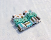 Ice Cream Social Tuxedo Bow Collection, Aqua, Brown, and Light Pink Basic Hair Clips