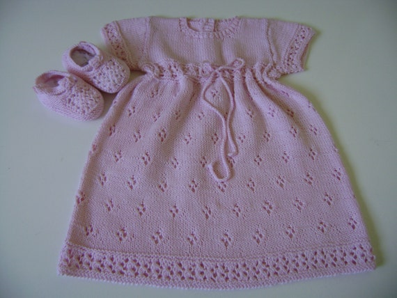 Hand Knitted Baby Dress and Booties 0  to 3-4 Months Soft Cotton