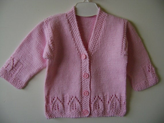 Baby Cotton Sweater, Knitted Baby Sweater, Baby Girl Sweater,   Pink Sweater, Christmas Baby Gift, Baby Shower Gift, Baby Cotton Cardigan.