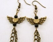 Antiqued Brass Angel Wings Earrings