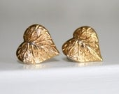 Gold Leaf Heart Post Earrings