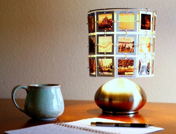 Lampshade made from vintage slides with modern brushed stainless 3 way touch lamp