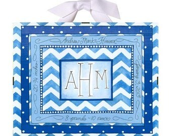 Personalized Baby Gift - Birth Record - Blue Chevron Baby Nursery
