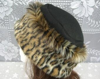 Ocelot Leopard FAUX FUR HAT, Pillbox Black Fleece Hat, Women's Fur Hat, Winter Faux Fur Hat