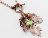 Handmade Jewelry Necklace copper REAL LEAF acorn charm genuine green pearl Swarovski crystal filigree pendant Statement Necklace Gift R816
