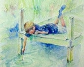 Boy at the Pond boxed set of 5 blank note cards painting print of original watercolor