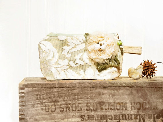 Mint Julep Keepsake Zipper Clutch ..seafoam pale emerald green sage cream Chantilly lace  elegant evening clutch