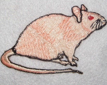 Naked Hairless Rat Steam Punk  Iron on Patch