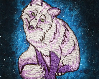 Lavender and white  Red Fox Vulpes vulpes Iron on Patch