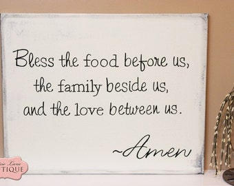 20 X 16 Canvas Bless The Food Before Us Grace Before Meals Meal Blessing Bless The