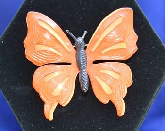 Pretty Vintage Orange Enamel Butterfly Brooch