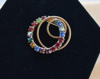 Pretty Vintage Circle Rhinestone Brooch, Multi Color