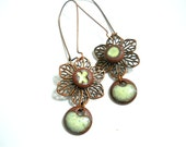 SALE Ceramic Drop Earrings, Hugs and Kisses Elaine Ray Ceramic Dots, Copper Filigree, Dangle Earrings, Floral Fashion, Spring