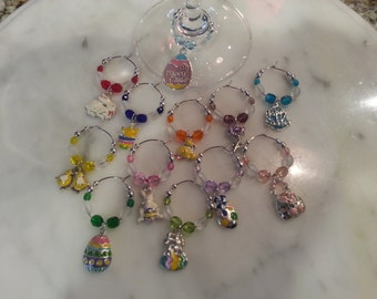 Easter Theme  Wine Charms set of 12