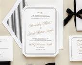 Metallic Gold and Black Die Cut Letterpress Wedding Invitation -- Sample -- Grandeur (Free Shipping)