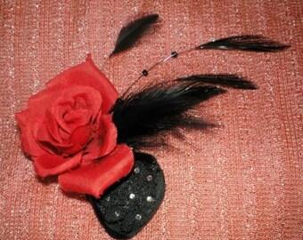 Feathered Hair Fascinator, Gothic Hair Accessories, Hair Fascinator, Gothic Hair Fascinator