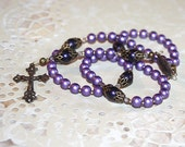 Purple Satin Bead Girls Catholic 1st Communon Rosary