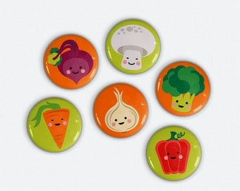 Cute Veggies 1 inch pinback buttons 6 cute vegetable illustrations