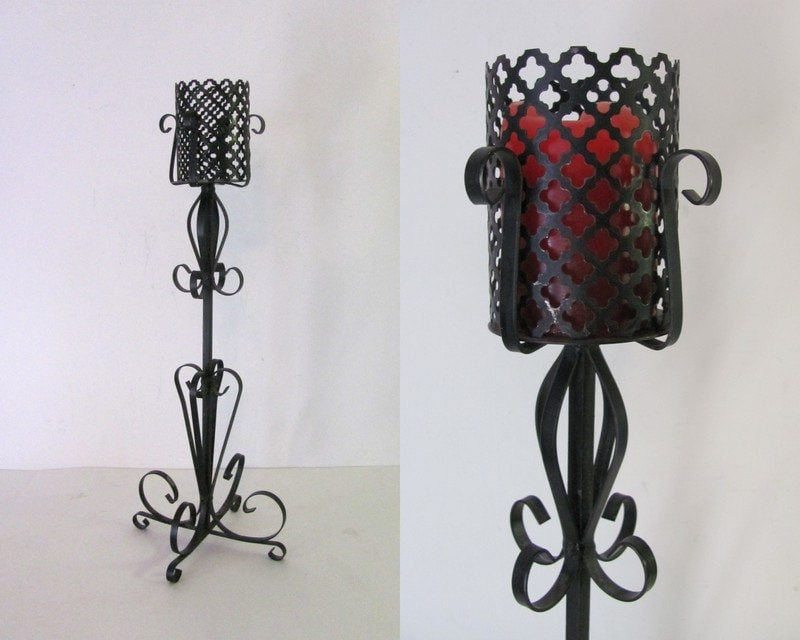 Vintage Black gothic Metal candle Holder // by dirtybirdiesvintage