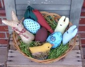 Easter Bunny Chick Carrot Peeps and Egg Pattern, Easter Pattern, bowl fillers, ornaments, Primitive Easter basket decor