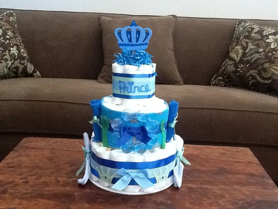 Little Prince Baby Shower Diaper Cakes Centerpieces other colors and sizes too