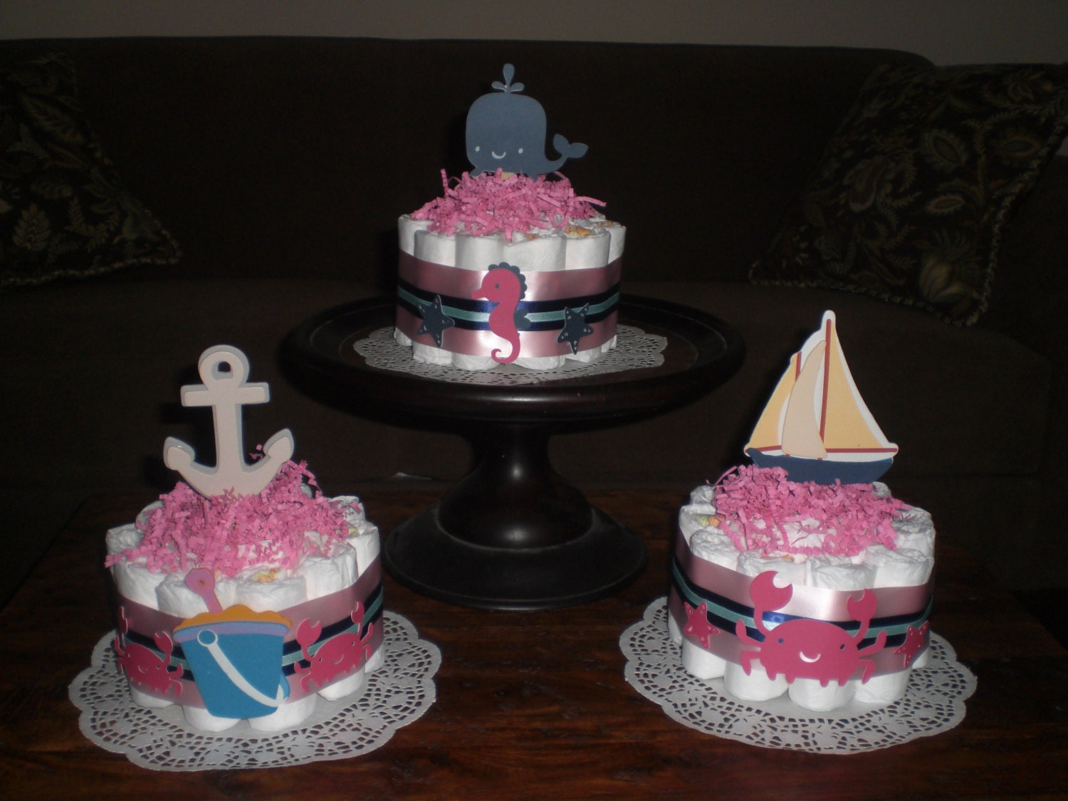 beach nautical girl sailing baby shower centerpiece diaper