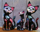ADVERTISEMENT ONLY Dia de los Muertos Hand Carved wooden Cat - Painted to honor your pet (DO N0T PURCHASe this Listing!)