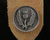 Pewter Scottish Thistle Leather Bookmark