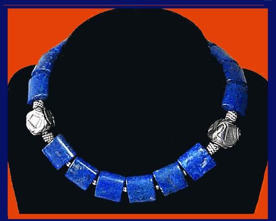 Hey Blue Eyes--Deep Blue Lapis Lazuli Square Bead Necklace,Silvery Accents,Vintage Jewelry,Women