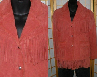 Vintage 60s red suede fringed jacket womens size small / medium