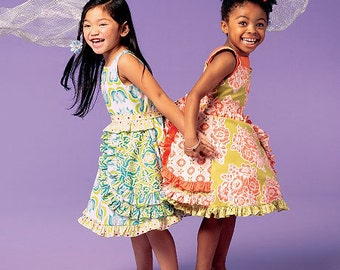 GIRLS CLOTHES PATTERN / Boutique Style Dress with Ruffles / Child Size 3 - 5 or Girl 6 - 8