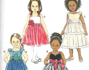 GIRLS DRESS PATTERN / Make Child Flower Girl - First Communion Fancy Dress / Sizes 1 to 3 Or 4 to 6