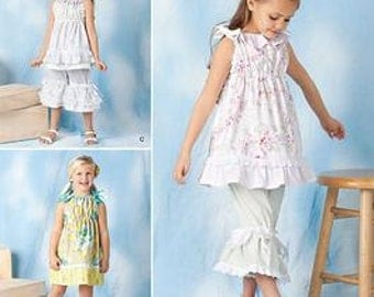 GIRLS CLOTHES PATTERN / Make Boutique Style Top - Dress -Pants - Bloomers / Child Sizes 3 To 8