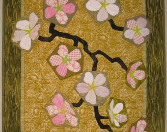 "Art Quilt - Cherry Blossoms on Gold Background"" - 27"" x 38"""