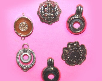 Vintage 6 Silver Plated Setting Pendants H2R