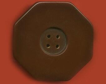Vintage Large Gorgeous Octagonal Maroon Art Deco Button 36.36mm  BR2 2