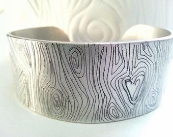 Wood Grain Engraved Cuff Bracelet- Hand Engraved Faux Bois Bracelet