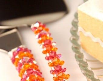 Pink and orange wedding cake cutting set custom Swarovski knife server beads table decor bridal shower birthday party cake cutter crystal