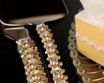 Beach wedding cake cutting set cake knife server Swarovski crystal beads sand opal bridal shower birthday party beach destination