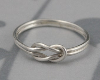Infinity Knot Love Knot Ring in Solid Sterling Silver--Double Endless Knot Ring--Promise Ring Friendship Ring--Handmade Infinity Knot Band