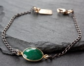 Simple Gemstone Bracelet- mixed metal