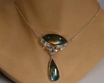 Labradorite Necklace Art Nouveau Elegance in Sterling Silver
