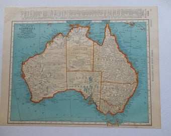 Australia, Oceania Map, 1939 Vintage Atlas maps