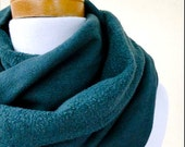 hemp fleece scarf - bottle green scarf - fleece scarf - hemp neck warmer - infinity scarf