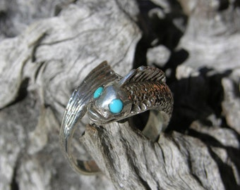 Sterling Silver Koi Turquoise Ring Size 7